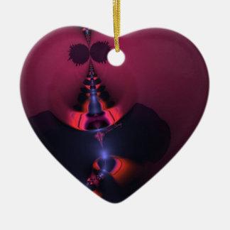 Fantasma magenta - color de rosa y placer del añil adorno de cerámica en forma de corazón