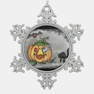 ¡Fantasma, palo y gato, feliz Halloween! Adorno De Peltre En Forma De Copo De Nieve
