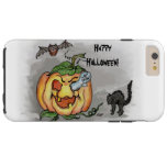 ¡Fantasma, palo y gato, feliz Halloween! Funda De iPhone 6 Plus Tough