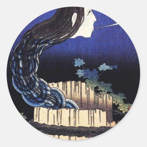 Fantasma que emerge bien cerca de Katsushika Etiqueta Redonda