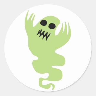 Fantasma verde pegatina redonda