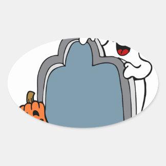 Fantasma y calabaza de la piedra sepulcral de pegatina ovalada