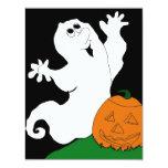 Fantasma y calabaza del dibujo animado invitación 10,8 x 13,9 cm