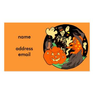 Fantasma y esqueleto de la calabaza de la bruja de tarjetas de visita