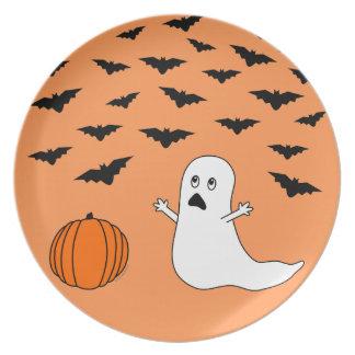 Fantasma y palos Halloween (fondo anaranjado) Platos