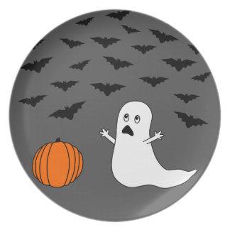 Fantasma y palos Halloween (fondo gris) Platos
