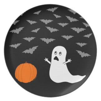 Fantasma y palos Halloween (versión oscura) Platos De Comidas