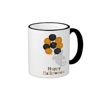 Fantasma y taza del feliz Halloween de los globos