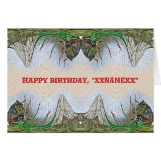 Fantasmagorical Cicada Birthday to Personalize Card