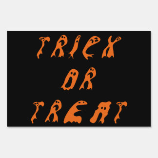 Fantasmas anaranjados y negros del truco o de la señales