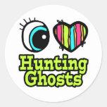Fantasmas brillantes de la caza del amor del coraz etiquetas redondas
