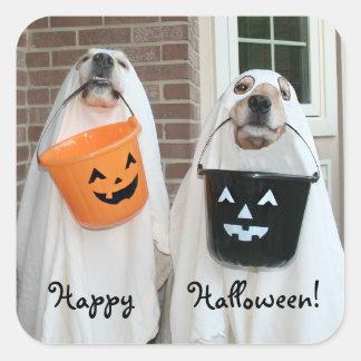 Fantasmas de Halloween del golden retriever Pegatina Cuadrada