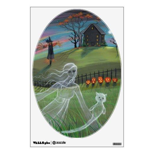 Fantasmas de Halloween y etiqueta de la pared de