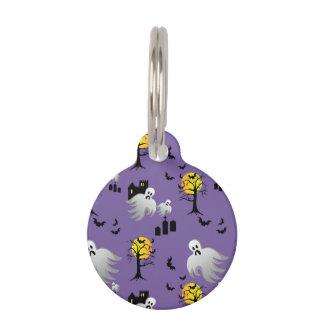 Fantasmas de la Luna Llena de Halloween en púrpura Identificador Para Mascotas