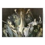 Fantasmas fantasmagóricos de Halloween del vintage Tarjeta De Felicitación