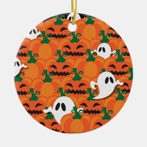 Fantasmas frecuentados del remiendo de la calabaza adorno navideño redondo de cerámica