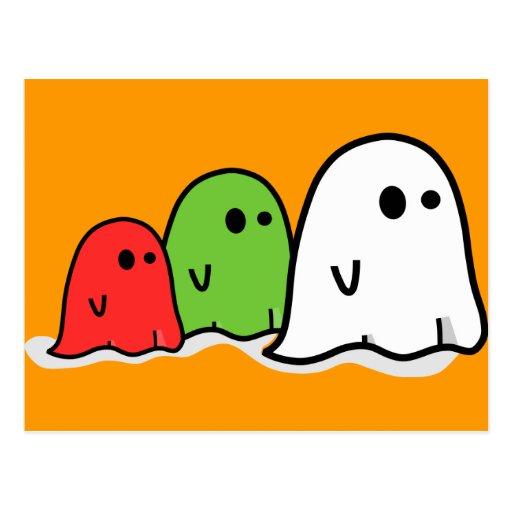 Fantasmas italianos Kawaii del feliz Halloween Tarjeta Postal