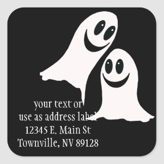 Fantasmas lindos del dibujo animado de Halloween Pegatina Cuadrada