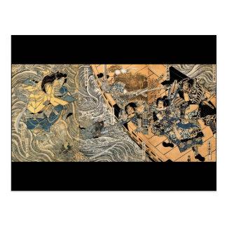 Fantasmas que luchan del samurai, circa 1800's tarjetas postales