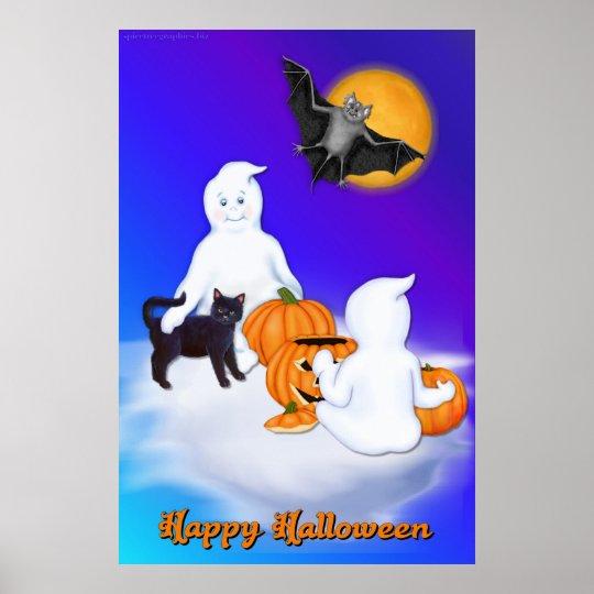 Fantasmas y amigos de Halloween Póster