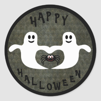 Fantasmas y araña lindos de Halloween Pegatinas Redondas