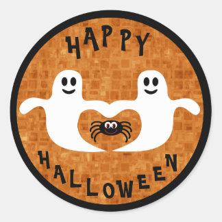 Fantasmas y araña lindos de Halloween Etiquetas Redondas
