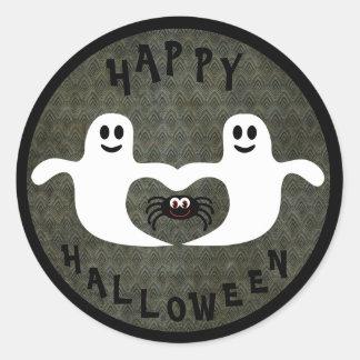 Fantasmas y araña lindos de Halloween Pegatina Redonda