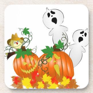 Fantasmas y calabazas divertidos de Halloween Posavasos De Bebida