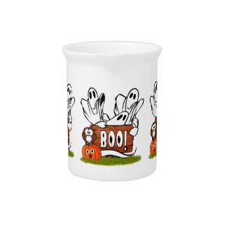 Fantasmas y Pals amistosos de Halloween Jarra De Beber
