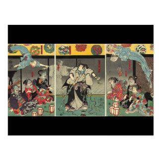 Fantasmas y serpientes que luchan C. 1850 del samu Postal