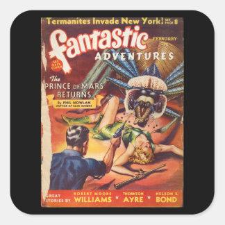 Fantastic Adventures 1940_Pulp Art Square Sticker