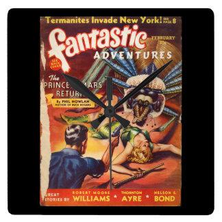 Fantastic Adventures 1940_Pulp Art Square Wall Clock