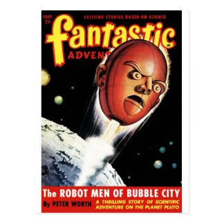 Fantastic Adventures - Robot Men of Bubble City Postcard
