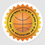 Fantastic Basketball Shield Round Stickers