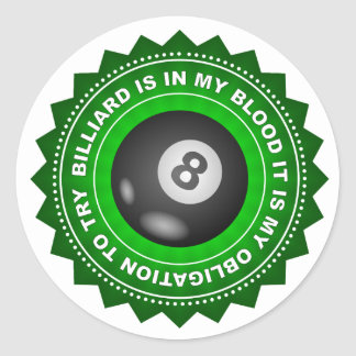 Fantastic Billiard Shield Classic Round Sticker