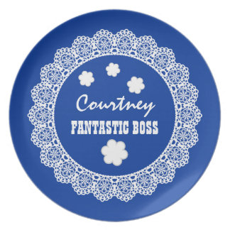 FANTASTIC BOSS Custom Name Blue and White Lace V04 Melamine Plate