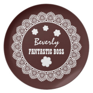 FANTASTIC BOSS Custom Name Chocolate White Lace V9 Plate
