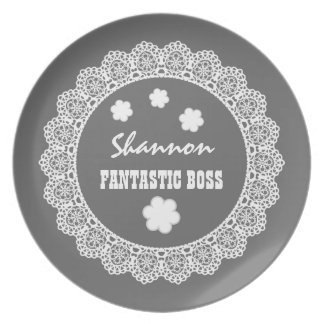 FANTASTIC BOSS Custom Name Gray White Lace V07 Plate