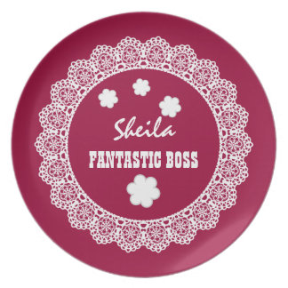 FANTASTIC BOSS Custom Name Gray White Lace V08 Dinner Plate