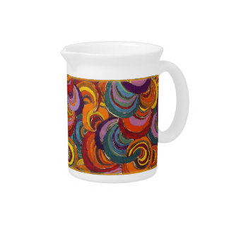 Fantastic Colorful Bloomsbury Swirls Beverage Pitcher
