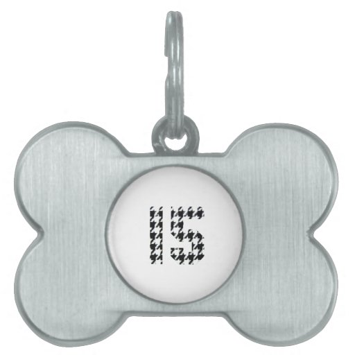 Fantastic Fifteen Houndstooth Print Pet Name Tag
