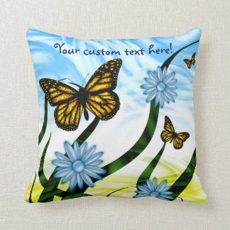 Fantastic Graphic Butterflies Flutter By Collage Throw Pillow