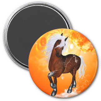 Fantastic horse 3 inch round magnet
