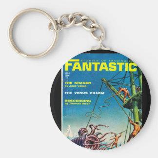 Fantastic Jul_Pulp Art Basic Round Button Keychain