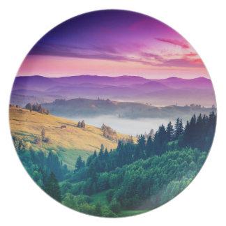 Fantastic Morning Mountain Landscape. Overcast Dinner Plate