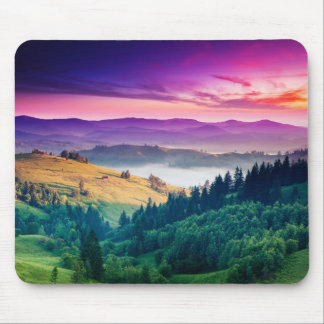 Fantastic Morning Mountain Landscape. Overcast Mouse Pad