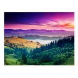 Fantastic Morning Mountain Landscape. Overcast Postcard