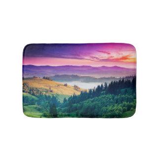 Fantastic Morning Mountain Landscape. Overcast Bath Mats
