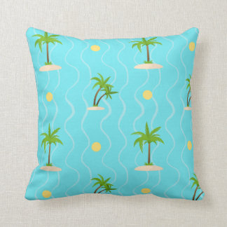 Fantastic palm trees wavy lines pattern throw pillow