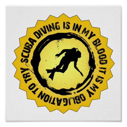 Fantastic Scuba Diving Seal Poster